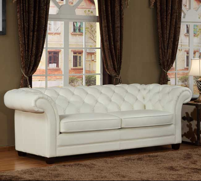Lazzaro White Leather Sofa