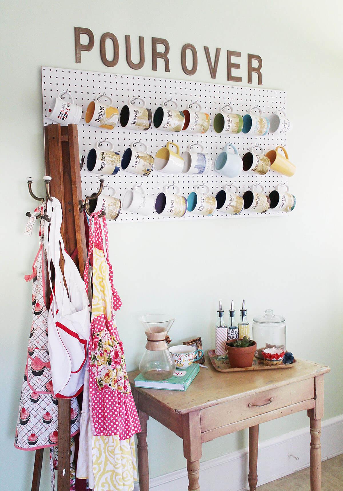 Easy and Artful Pegboard Mug Hanger