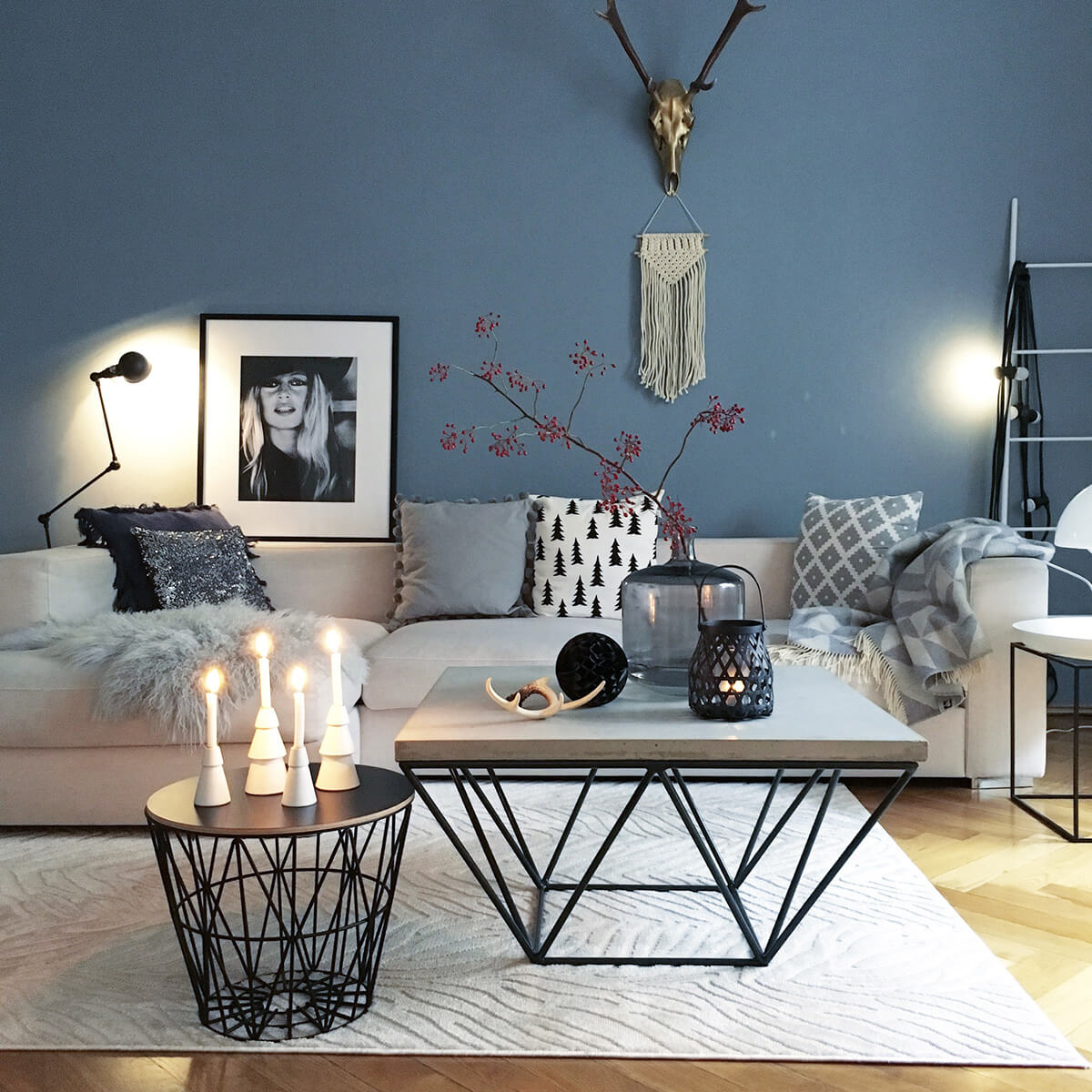 Modern Minimalist Flower and Candle Display in Shades of Grey