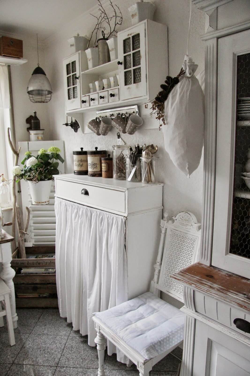 Sideboard with Long White Curtain
