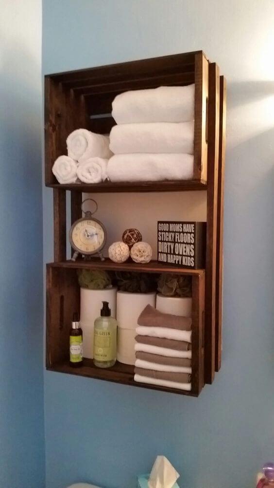 Repurposed Grocer's Crate Shelf