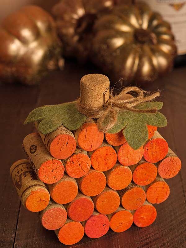 Re-purposed Corks Make for a Delightful Pumpkin Piece