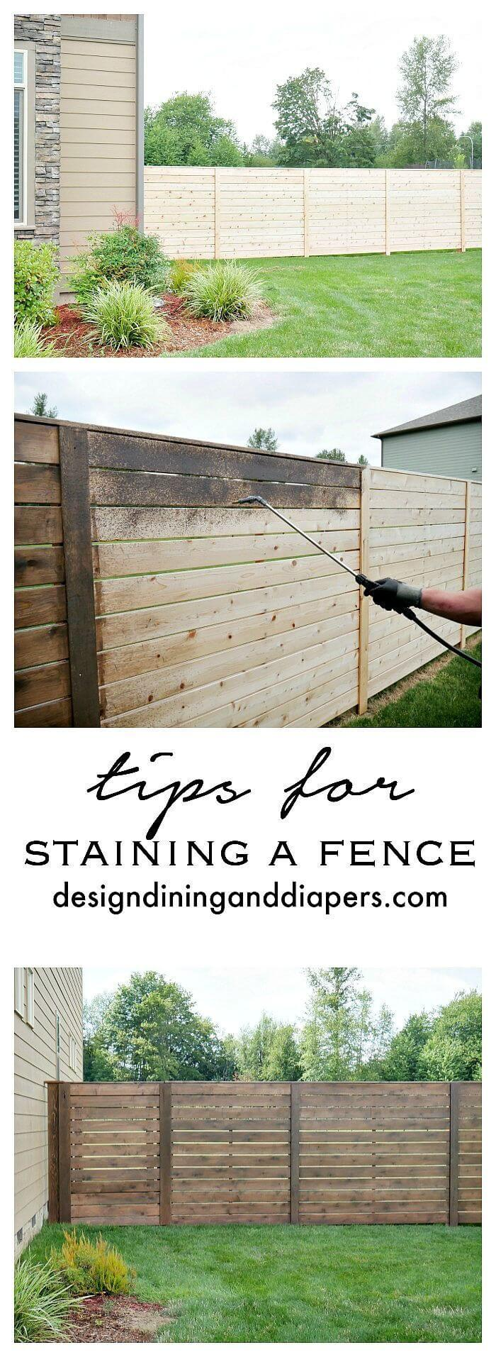 DIY Stained Horizontal Plank Fence