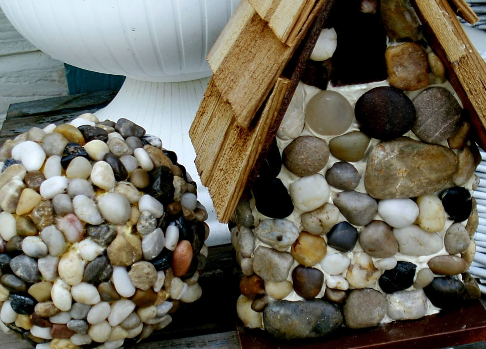 Cover a Ball and Birdhouse in Pebbles