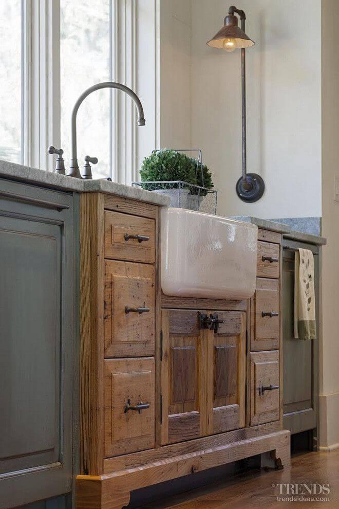 Porcelain Farmhouse Sink in Vintage Cabinet