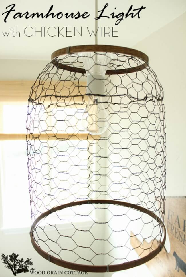 Pendant Light With Chicken Wire