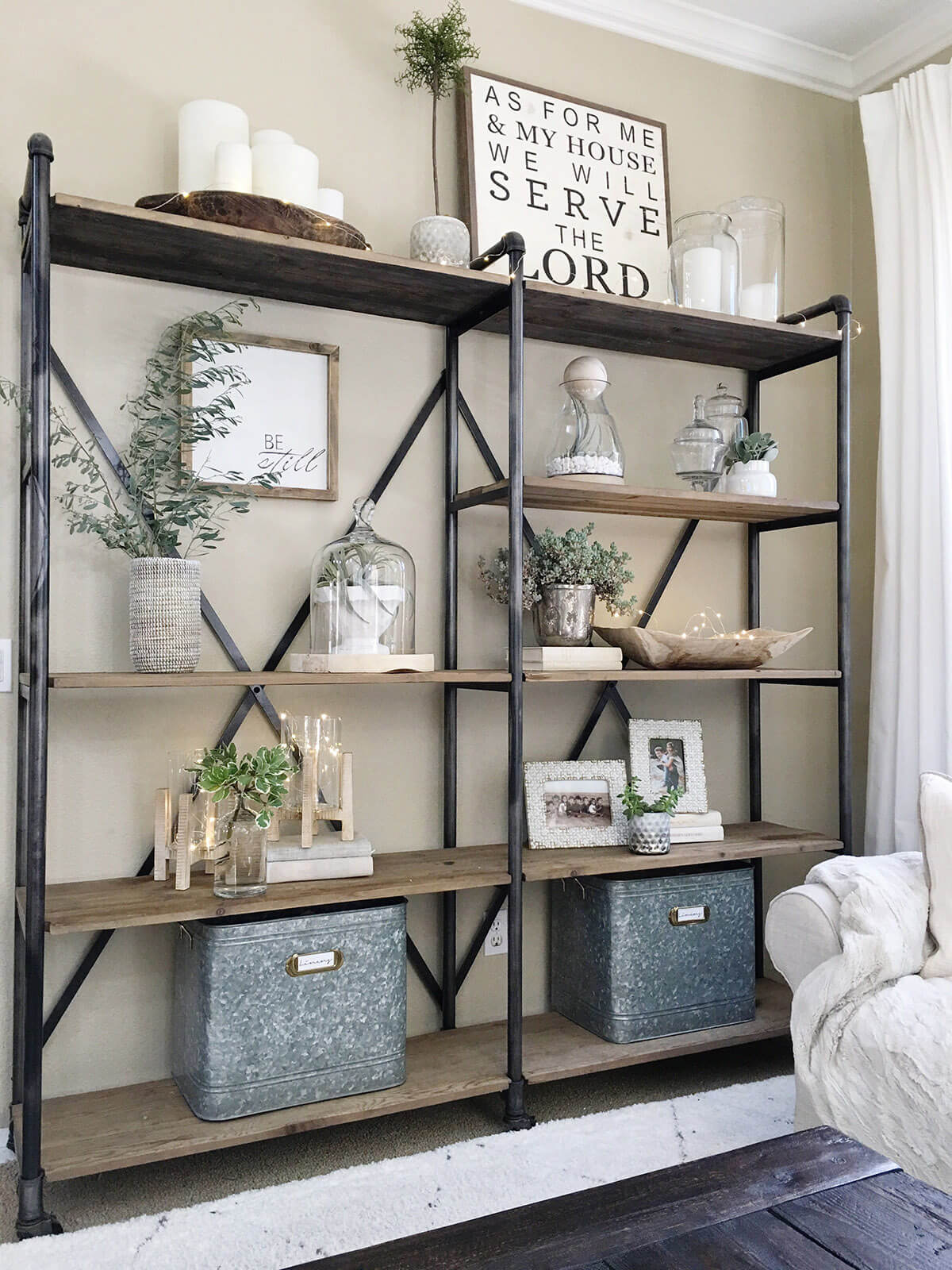 Open Industrial Style Bookshelf with White Accents