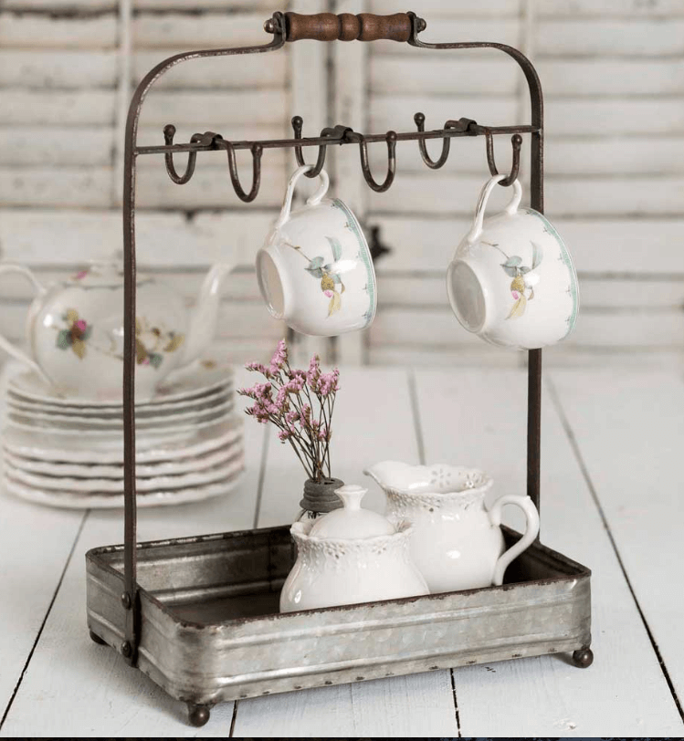 Metal China Tray with Teacup Hooks