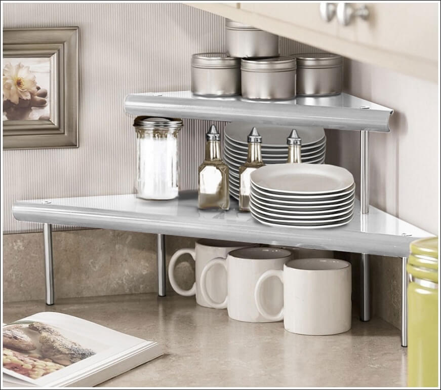 Clever Corner Shelving for Mugs and Plates