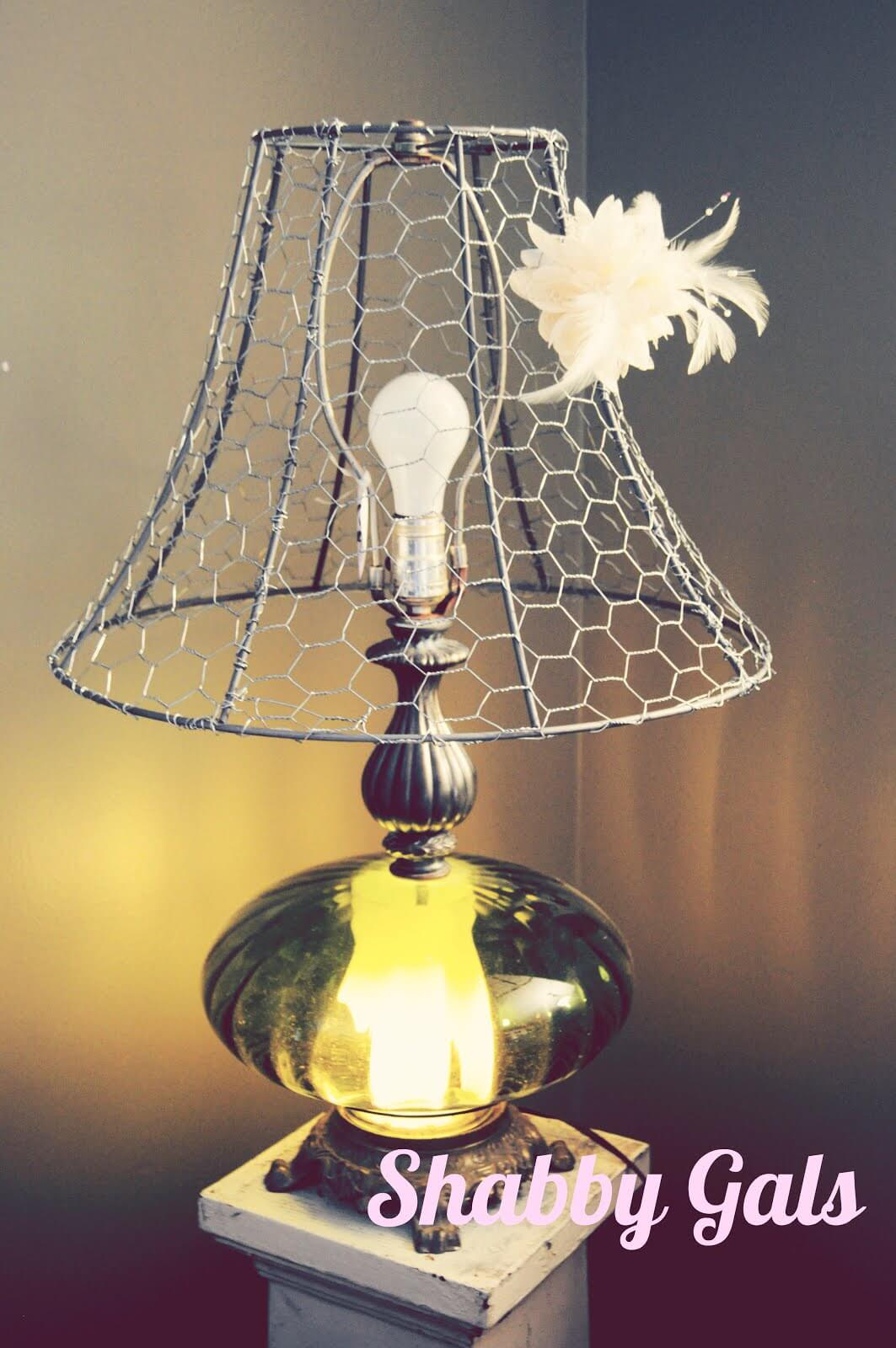 Replace a Lampshade with Chicken Wire