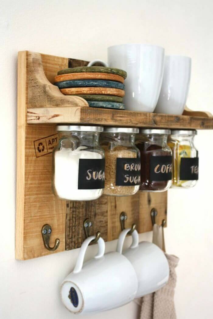 Shelf with Hooks and Spice Organization