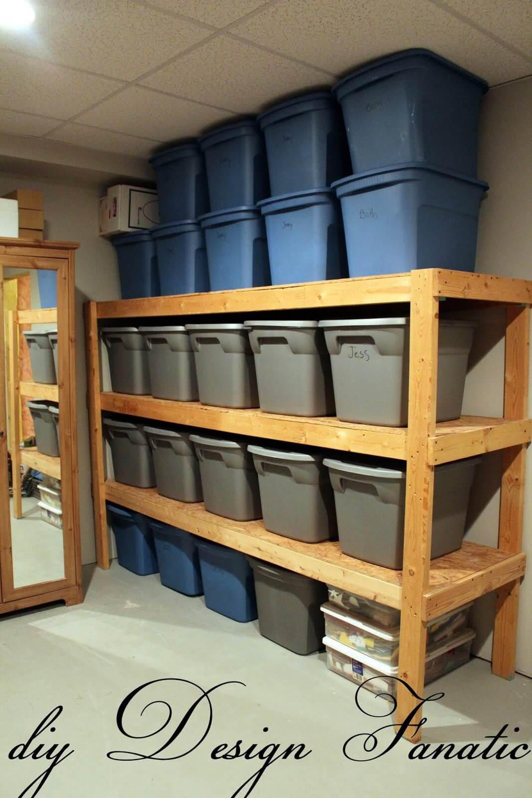 Stackable Rubbermaid Bins Keep Basements Beautiful