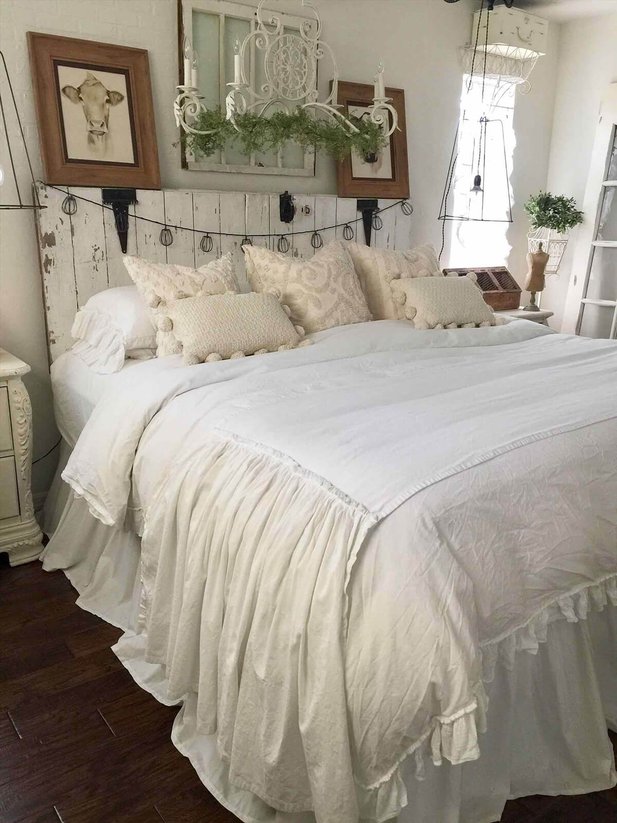 Layered White Bedding with Textured Pillows
