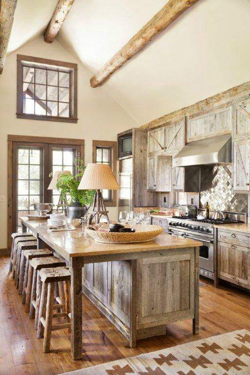 Weathered Wood Maximizes the Airy Space of a High-Ceilinged Rustic Country Kitchen Design