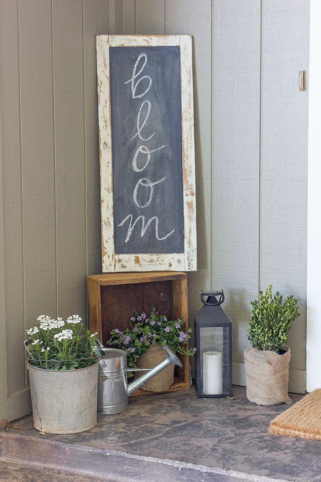 Chalkboard Sign, Galvanized Metal and Burlap Planters