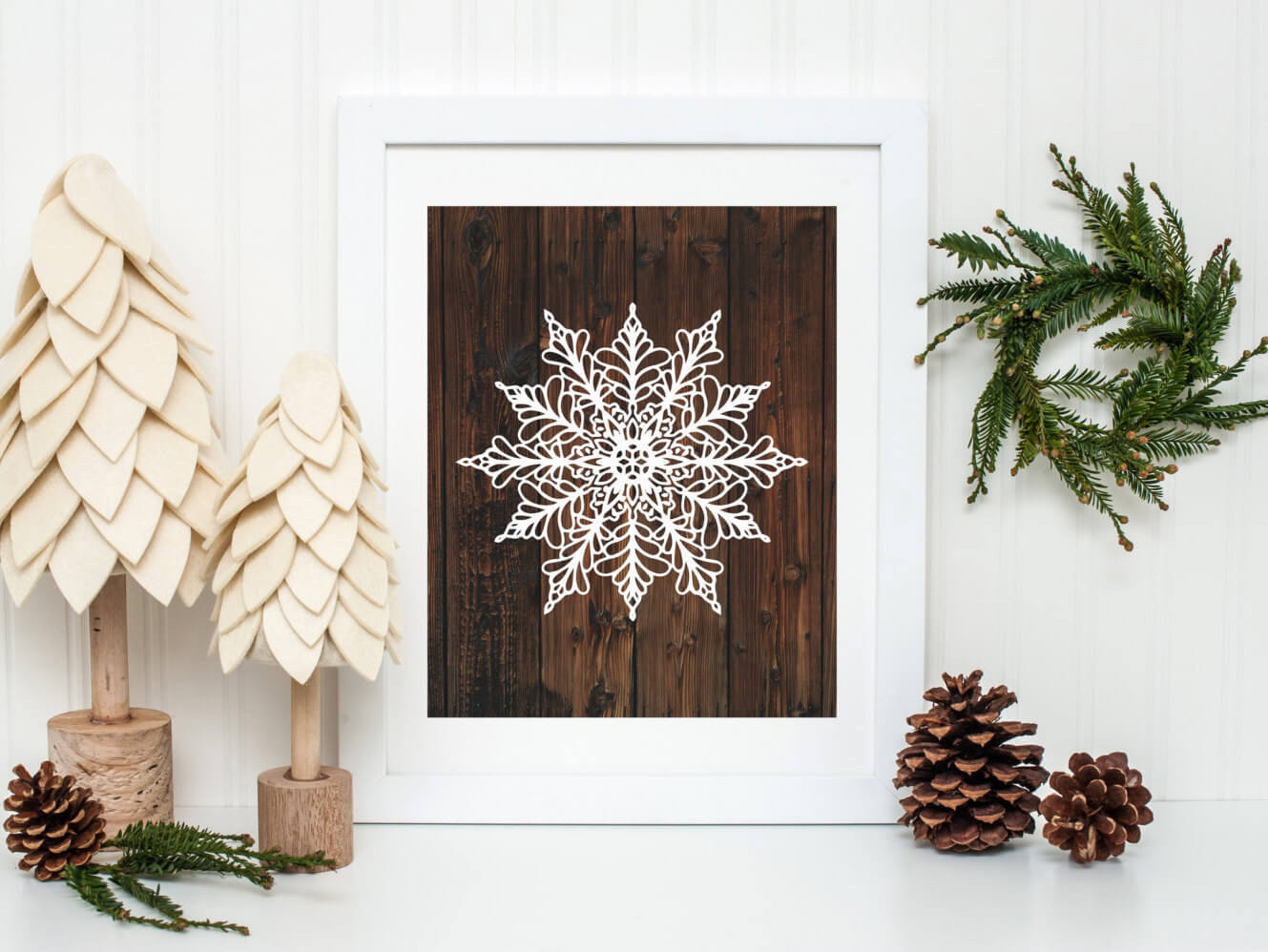 Textured Trees and Stenciled Snowflakes