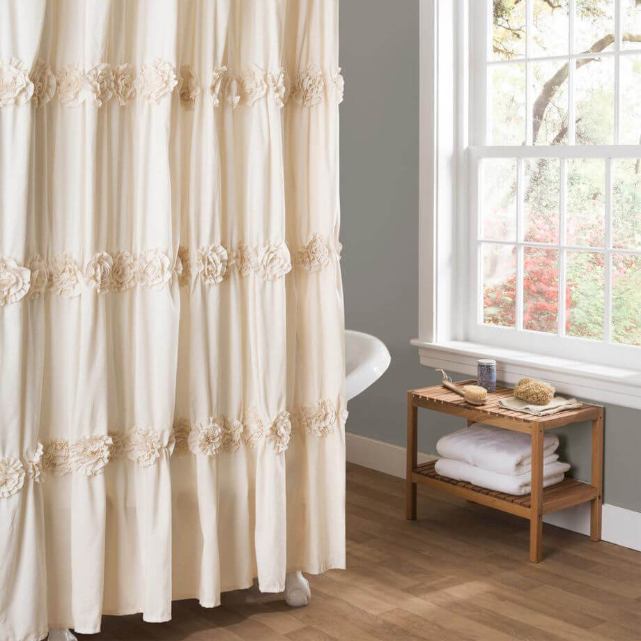 Shabby Chic Rosette Bath Tub Curtain