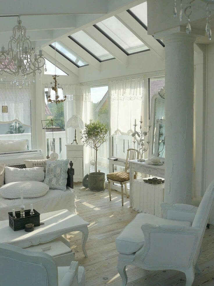 Serene Space with Chandeliers and Skylights