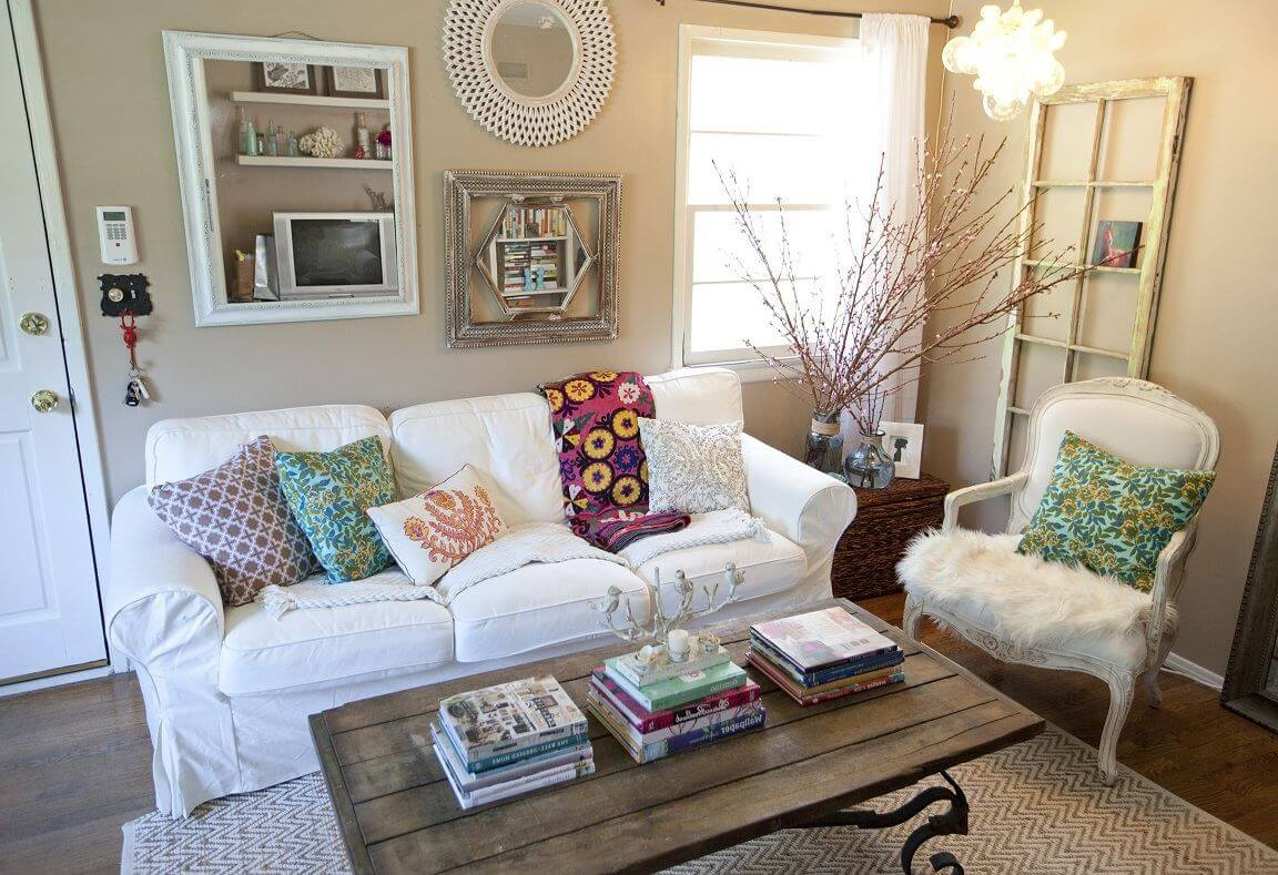 White Sofa with Colorful Cushions