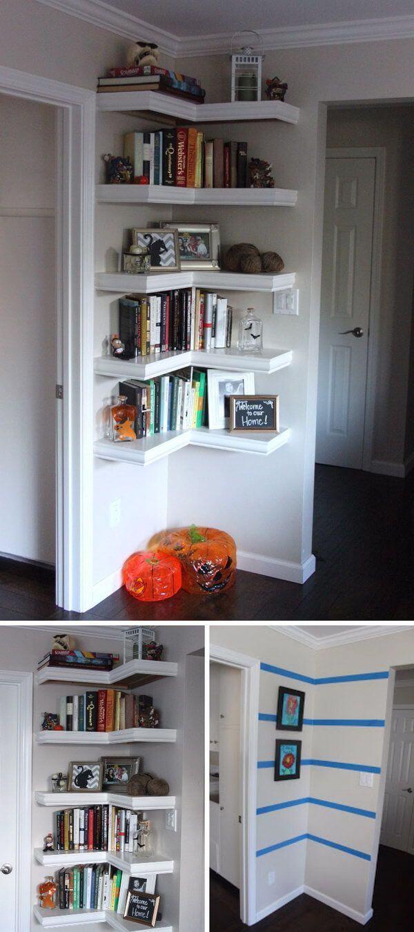 Transform a Corner with Wraparound Shelves