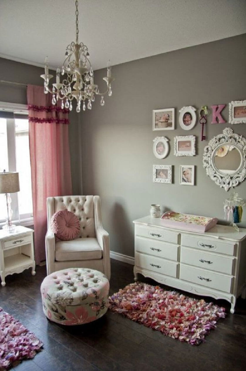 Classic Chandelier And Vintage Wall Art Collage