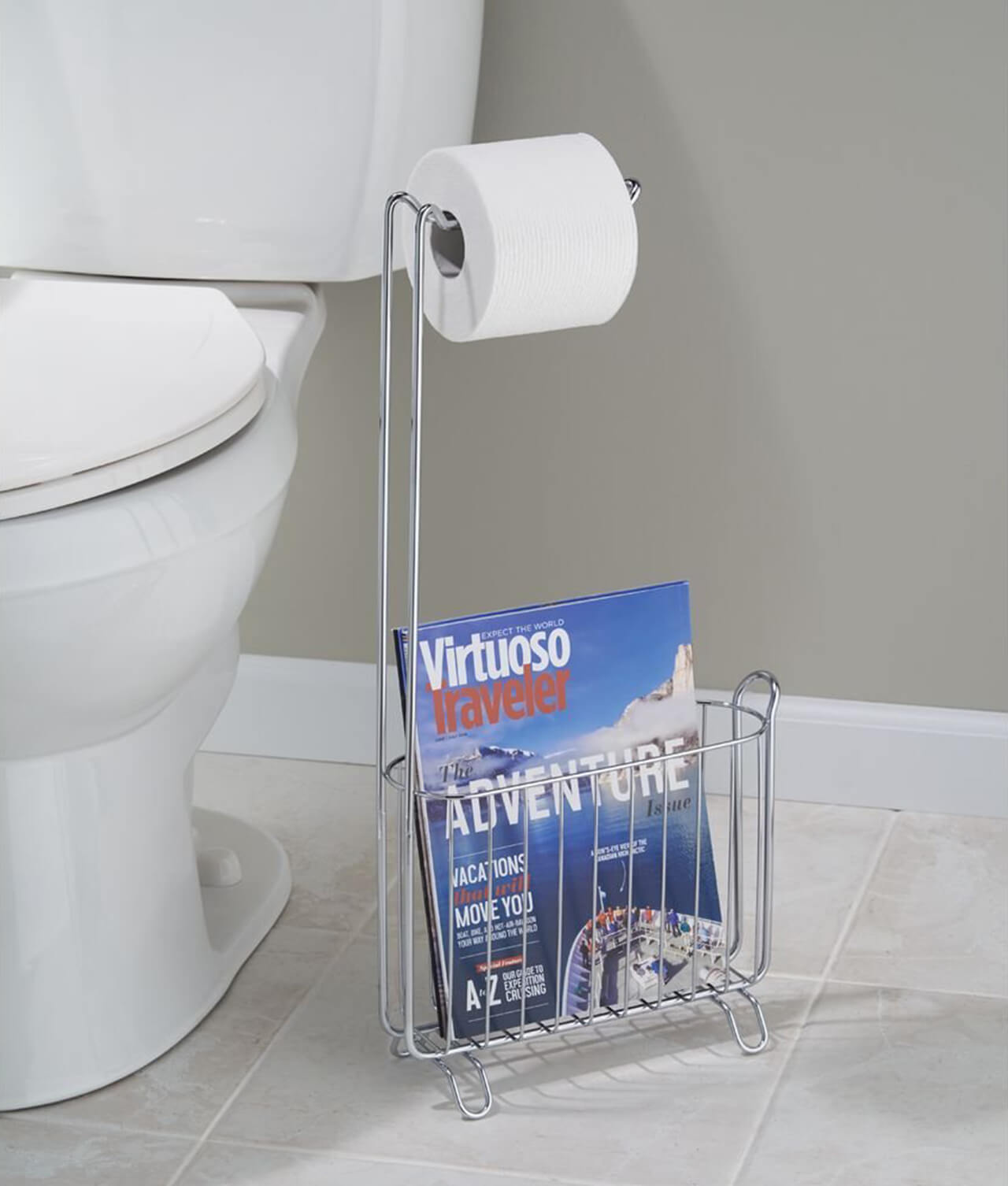 Chrome Freestanding Magazine Rack