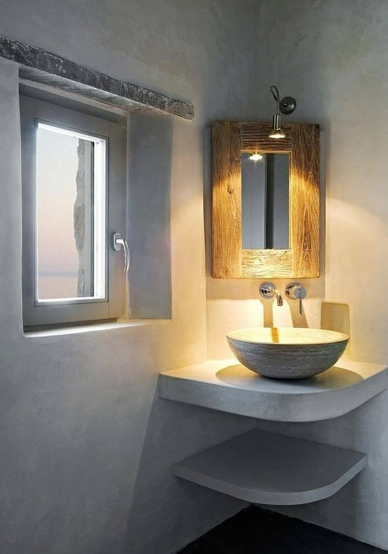 Raised Corner Sink with Spot Lighting