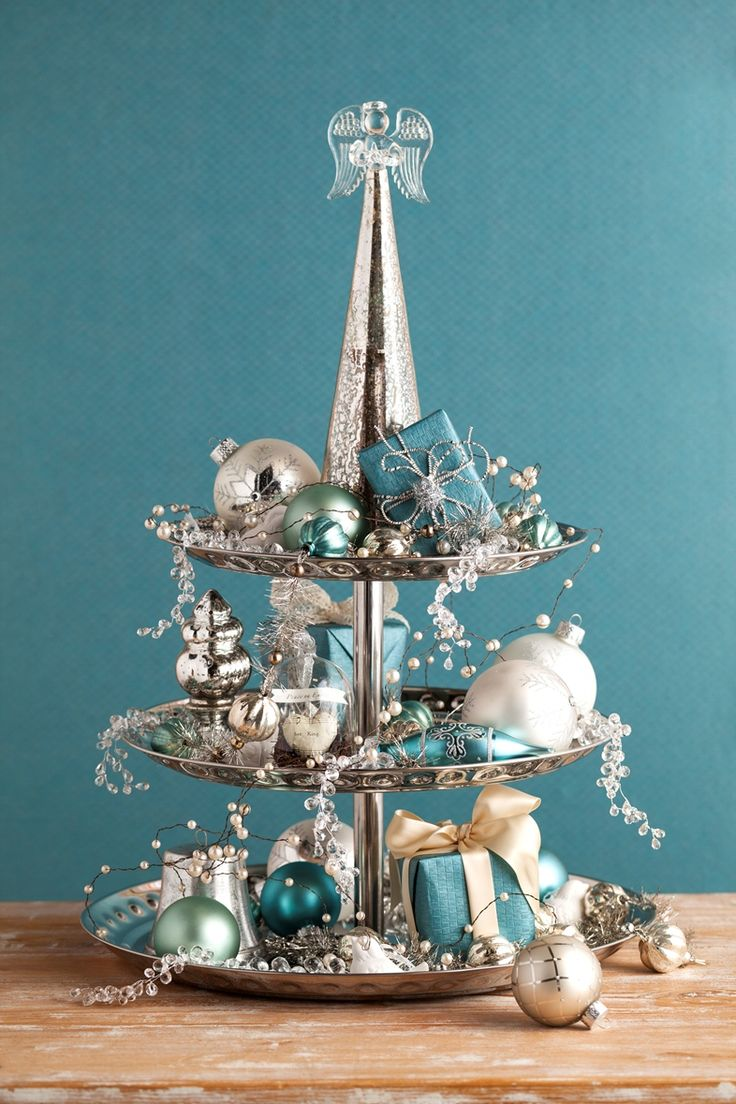 Vintage Silver Dessert Stand With Angel Topper And Heirloom Ornaments