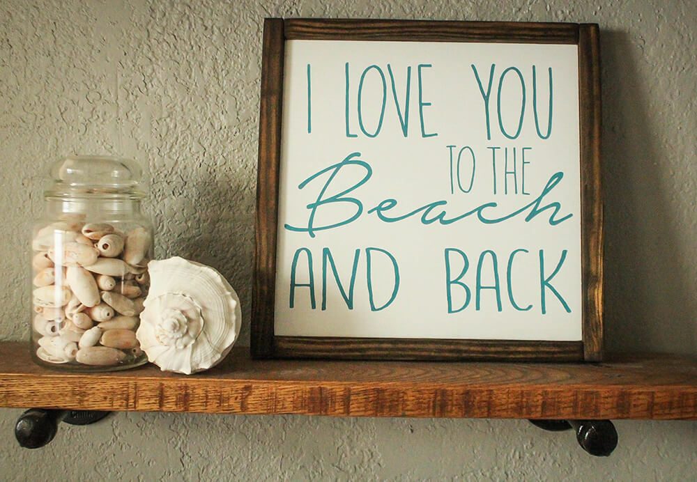 Wooden Coastal I Love You Sign