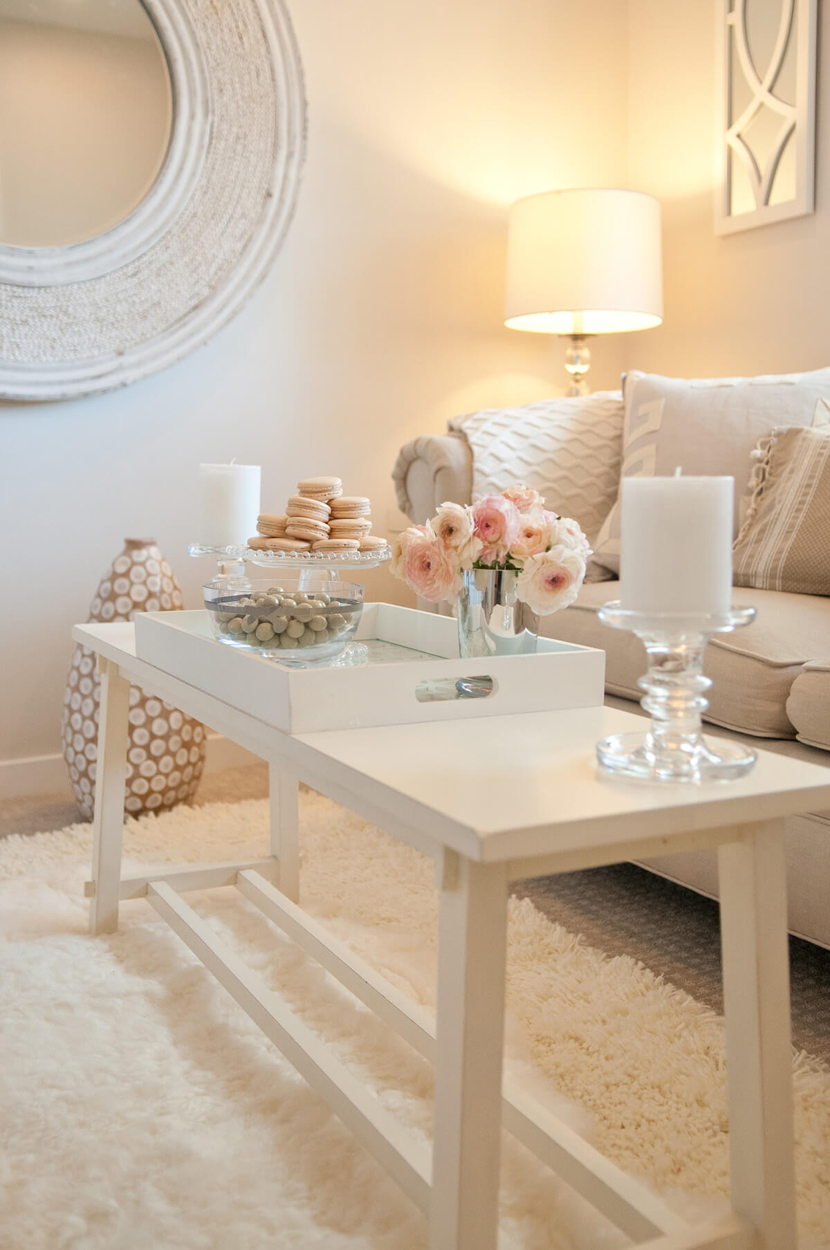 Champagne Pink and White Cottage-chic Accent Tray