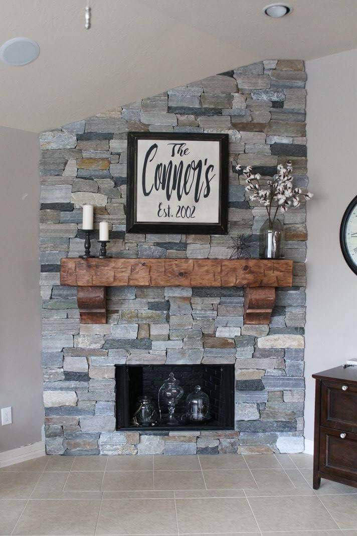 Warm Wood Corbel-Supported Fireplace Mantel