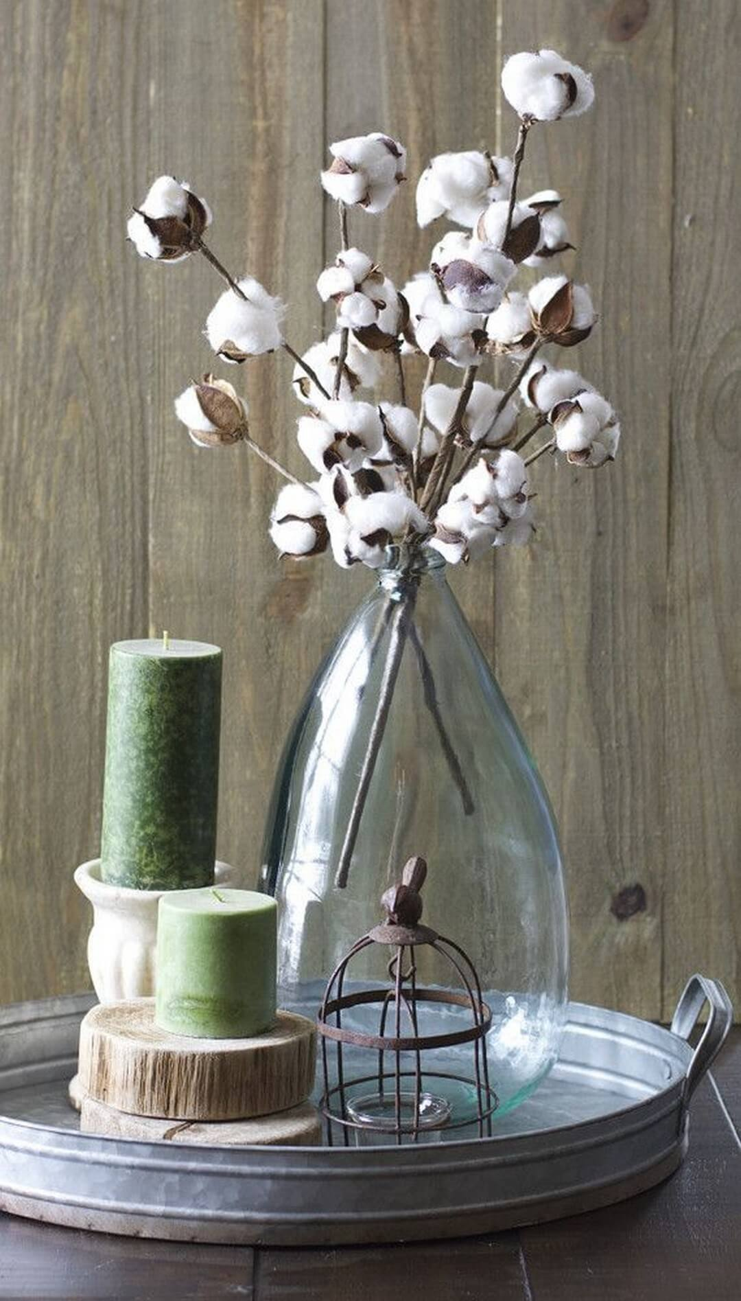 Tall Glass Vase with Cotton Blooms