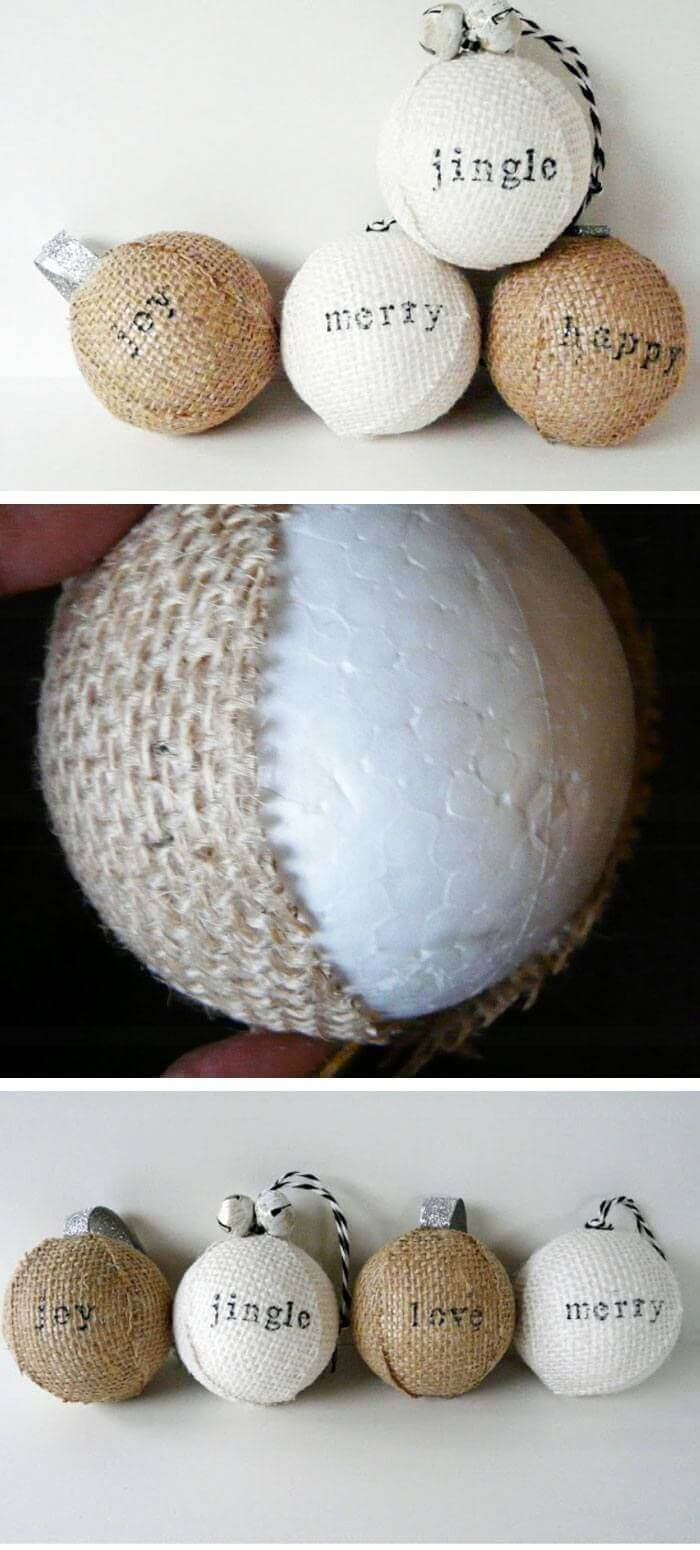 Burlap Wrapped Holiday Ornaments