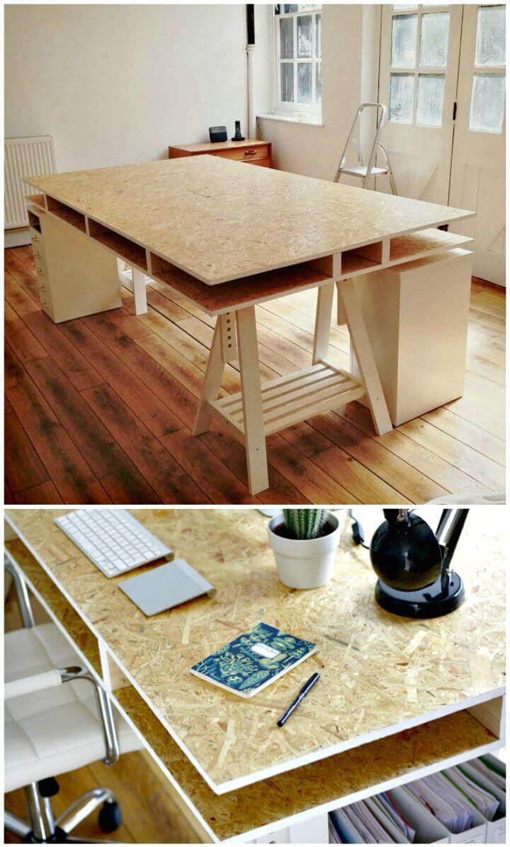 Double Layer Particle Board Desk