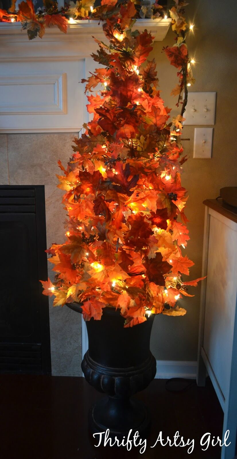 Light-Up Autumn Tree In Urn Decoration