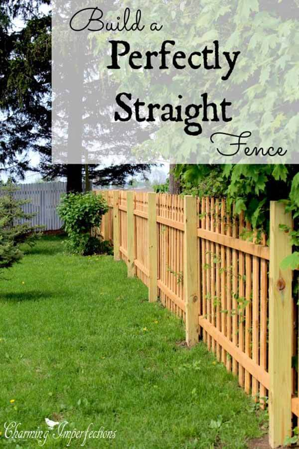 Perfectly Straight Natural Wood Picket Fence