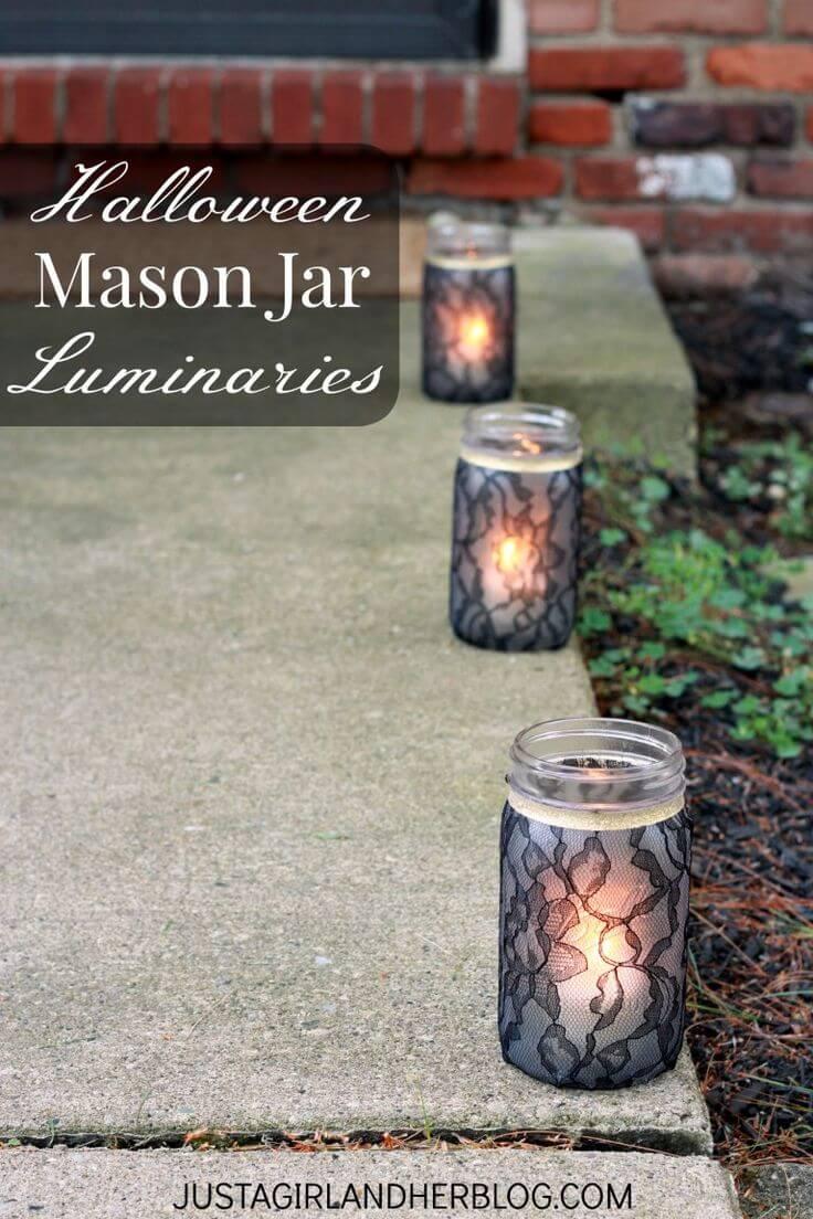 Spooky and Sophisticated Mason Jar Luminaries