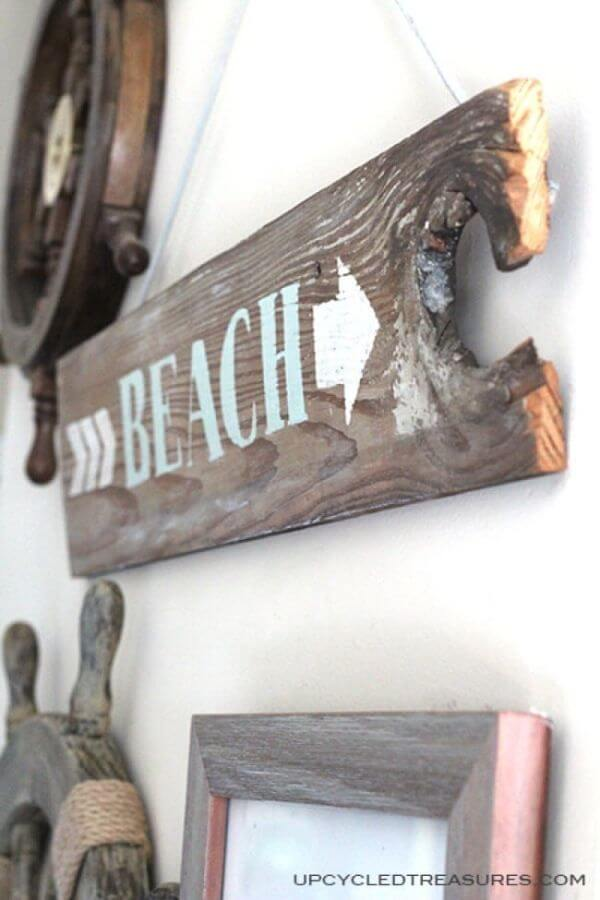 Find the Beach with this Driftwood Sign