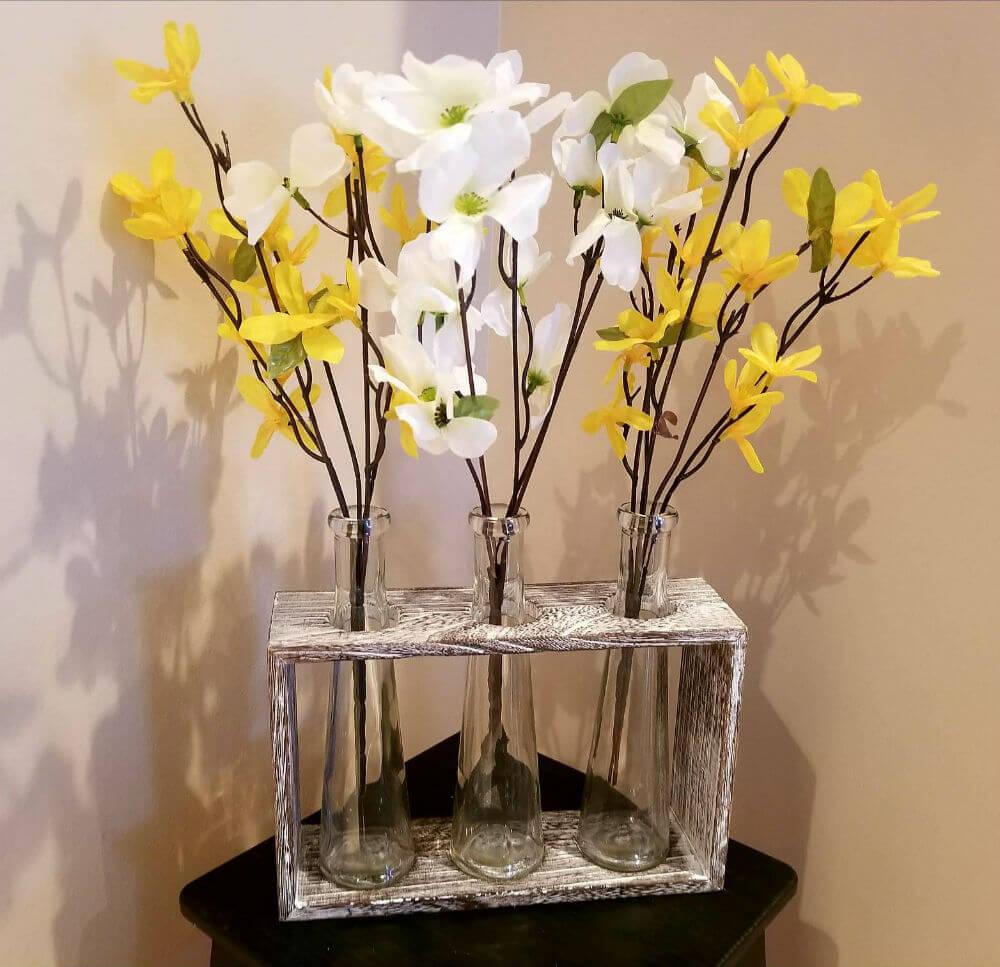 Romantic Rustic Glass Vase Centerpiece