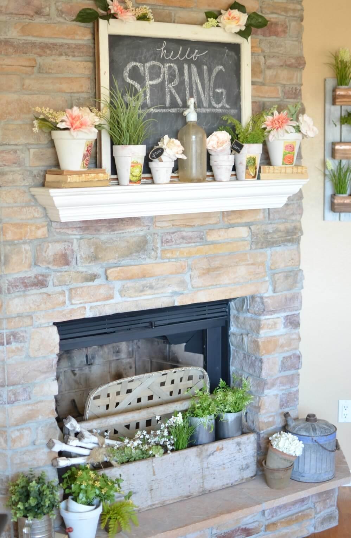 Hello Spring Flower Pots with Chalkboard Backdrop