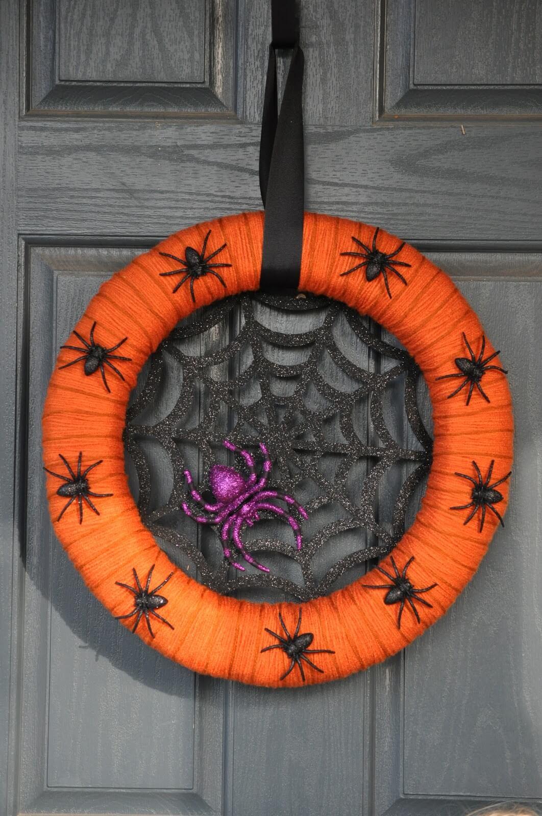 A Spider's Nest Halloween Wreath