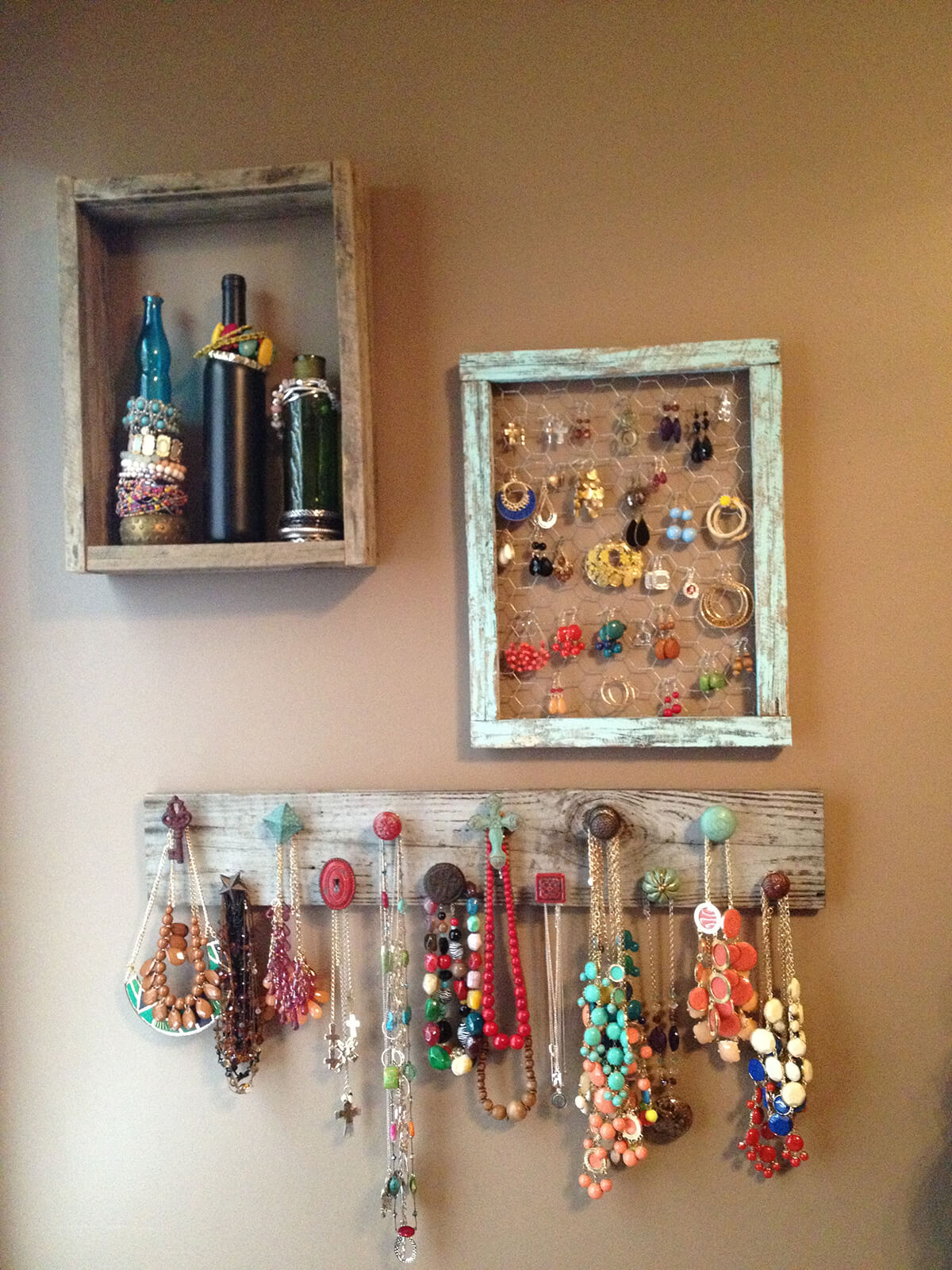 Mixed Barn Wood Jewelry Wall Displays