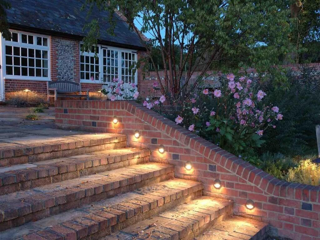 Small Lights Set in a Brick Wall