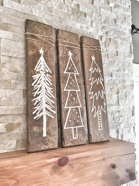 Wood Board Christmas Tree Signs