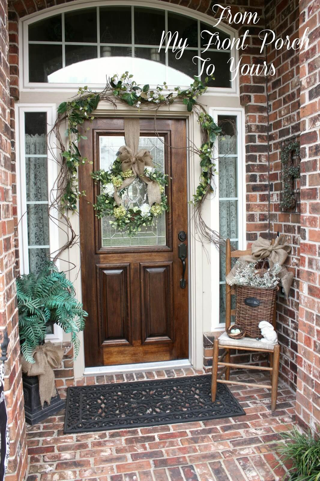 Twig Garland, Bouquet Wreath and Burlap Bow