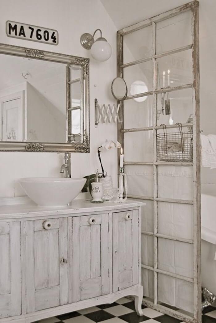 Antique Window Bathroom Privacy Divider