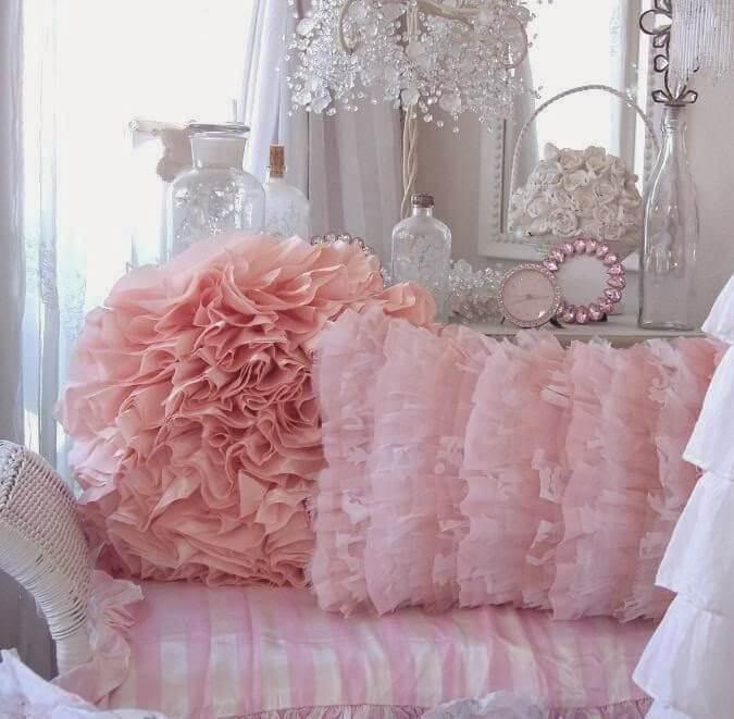 Pretty Pink Ruffled Throw Pillows