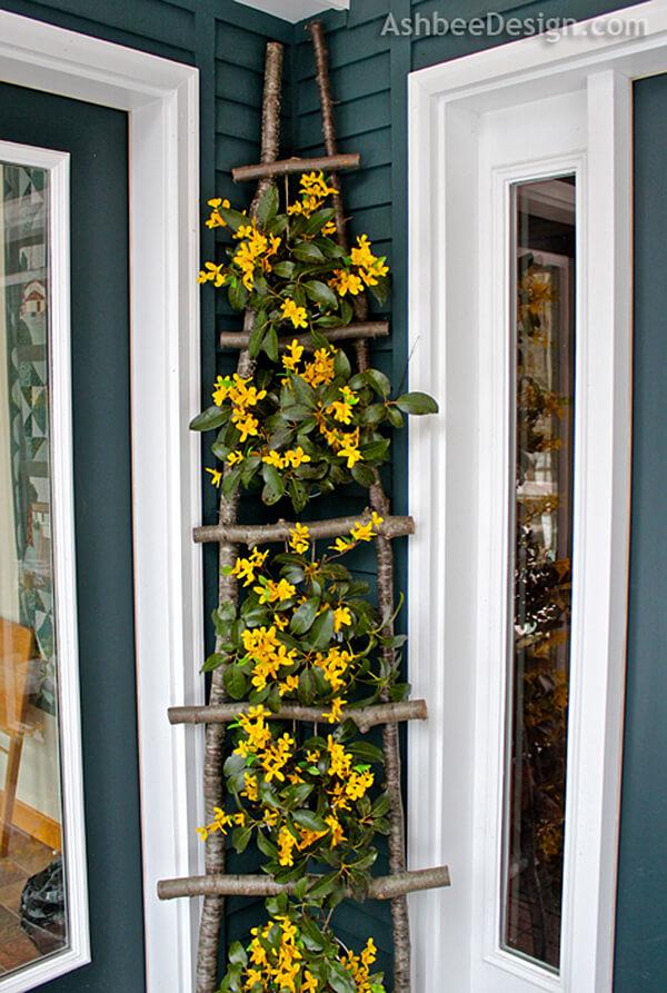 DIY Branch Ladder Flower Display