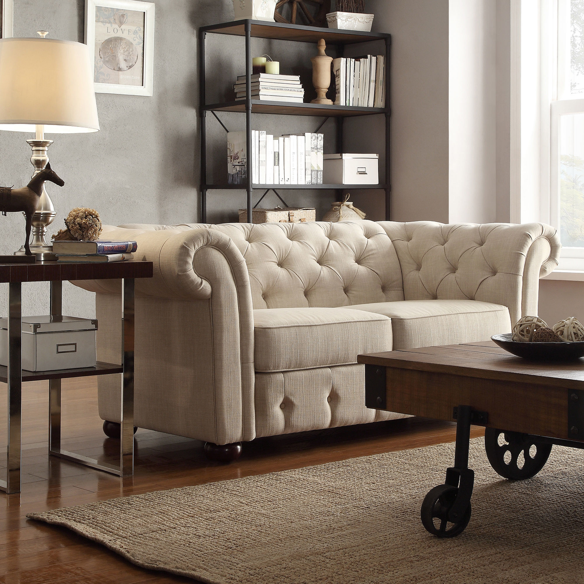 TRIBECCA HOME Knightsbridge Chesterfield Settee Loveseat