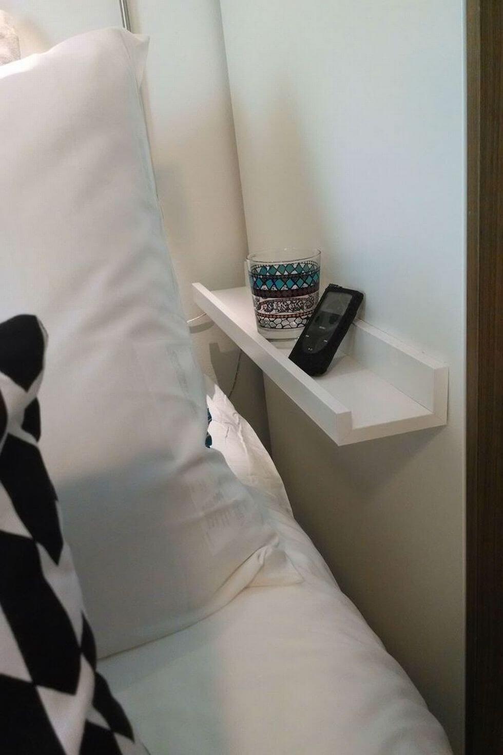 Sleek Bedside Wall Shelf In White